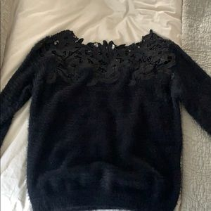 Vici collection lacy neckline black sweater